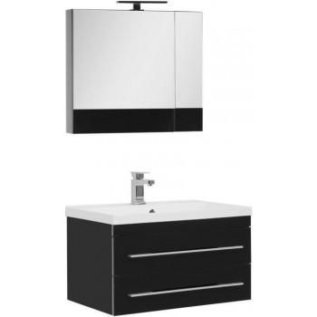 Комплект мебели для ванной Aquanet Верона NEW 75 черный (подвесной 2 ящика)