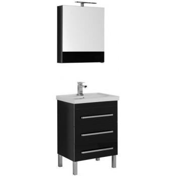 Комплект мебели для ванной Aquanet Сиена 60 черный (напольный 3 ящика)