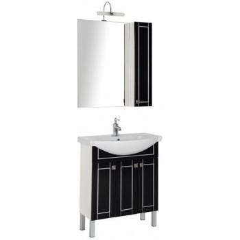 Комплект мебели для ванной Aquanet Честер 75 черный/серебро