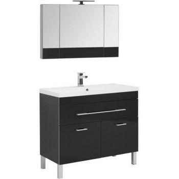 Комплект мебели для ванной Aquanet Верона NEW 100 черный (напольный 1 ящик 2 дверцы)
