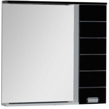 Зеркало-шкаф с подсветкой Aquanet Доминика 90 L LED черный