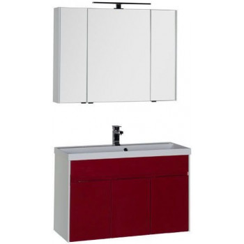 Комплект мебели для ванной Aquanet Латина 100 бордо