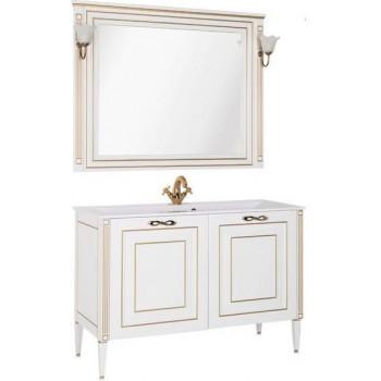 Комплект мебели для ванной Aquanet Паола 120 белый/золото (литьевой мрамор)