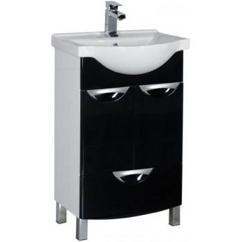 Тумба с раковиной Aquanet Асти 55 черный (2 дверцы 1 ящик)