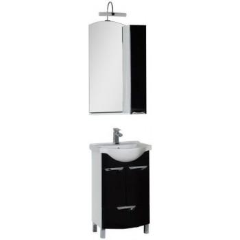Комплект мебели для ванной Aquanet Асти 55 черный (2 дверцы 1 ящик, зеркало шкаф/полка)