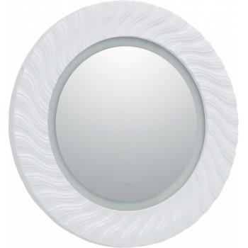 Круглое зеркало с подсветкой в белой раме Aquanet Милан 80 белый LED