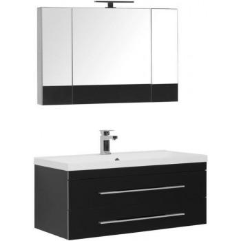Комплект мебели для ванной Aquanet Верона NEW 100 черный (подвесной 2 ящика)