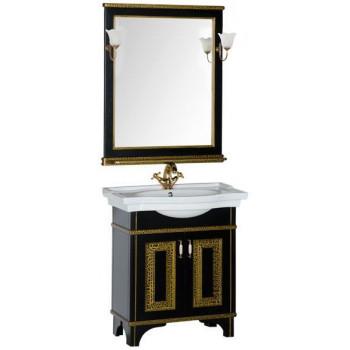 Комплект мебели для ванной Aquanet Валенса 80 черный краколет/золото