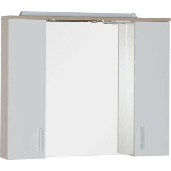 Зеркало-шкаф с подсветкой Aquanet Тиана 90 светлый дуб в интернет-магазине ROSESTAR фото