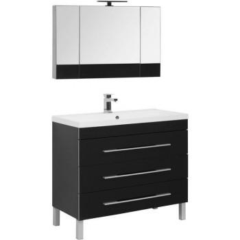 Комплект мебели для ванной Aquanet Верона NEW 100 черный (напольный 3 ящика)