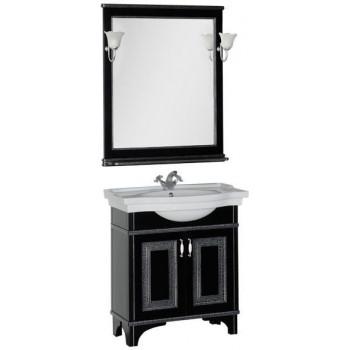 Комплект мебели для ванной Aquanet Валенса 80 черный краколет/серебро