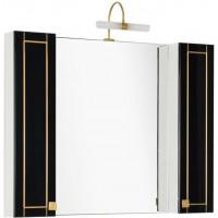 Зеркало-шкаф Aquanet Честер 105 черный/золото
