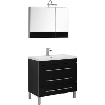 Комплект мебели для ванной Aquanet Верона NEW 90 черный (напольный 3 ящика)