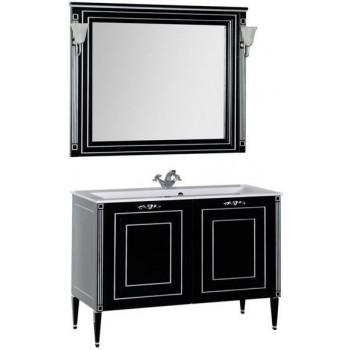 Комплект мебели для ванной Aquanet Паола 120 черный/серебро (литьевой мрамор)