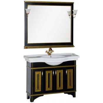 Комплект мебели для ванной Aquanet Валенса 110 черный краколет/золото