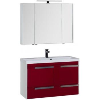 Комплект мебели для ванной Aquanet Тиволи 100 бордо
