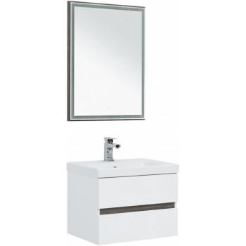 Комплект мебели для ванной Aquanet Беркли 60 белый/дуброшелье (зеркало дуб рошелье)