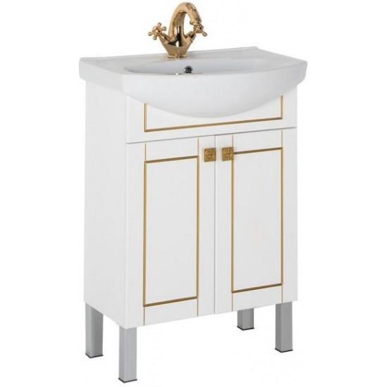 Тумба с раковиной Aquanet Честер 60 белый/золото в интернет-магазине ROSESTAR фото