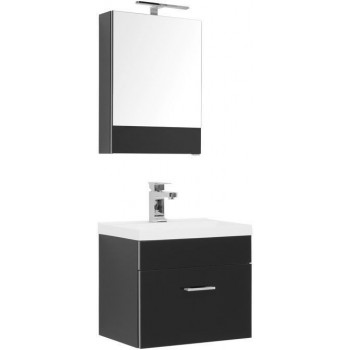 Комплект мебели для ванной Aquanet Верона NEW 50 черный (подвесной 1 ящик)