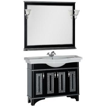 Комплект мебели для ванной Aquanet Валенса 110 черный краколет/серебро