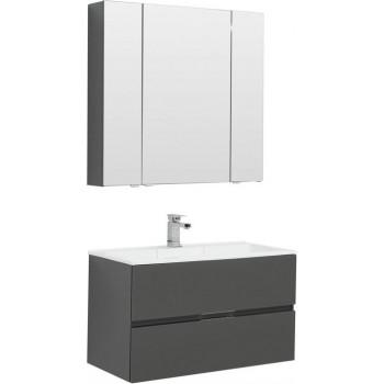 Комплект мебели для ванной Aquanet Алвита 90 серый антрацит