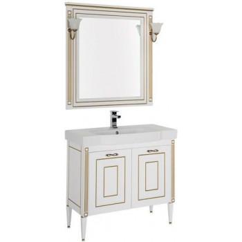 Комплект мебели для ванной Aquanet Паола 90 белый/золото (керамика)