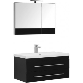 Комплект мебели для ванной Aquanet Верона NEW 90 черный (подвесной 2 ящика)