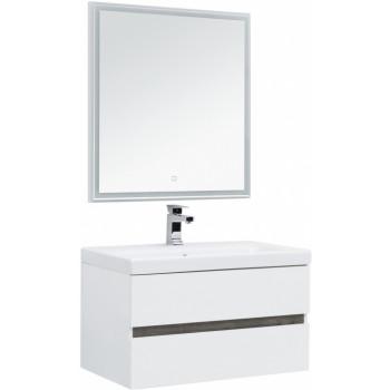 Комплект мебели для ванной Aquanet Беркли 80 белый/дуброшелье (зеркало белое)