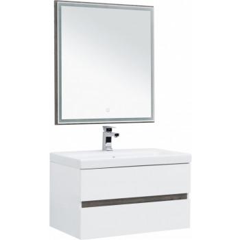 Комплект мебели для ванной Aquanet Беркли 80 белый/дуброшелье (зеркало дуб рошелье)