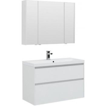 Комплект мебели для ванной Aquanet Гласс 100 белый