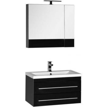 Комплект мебели для ванной Aquanet Нота 75 черный (камерино)