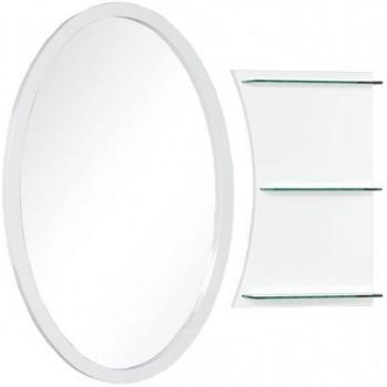 Овальное зеркало с полками Aquanet Опера L/R 70 белый