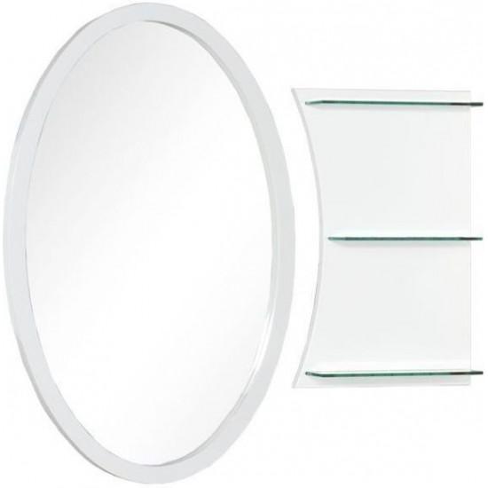Овальное зеркало с полками Aquanet Опера L/R 70 белый в интернет-магазине ROSESTAR фото
