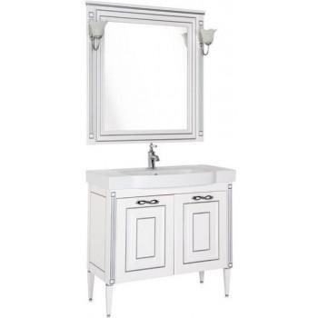 Комплект мебели для ванной Aquanet Паола 90 белый/серебро (керамика)