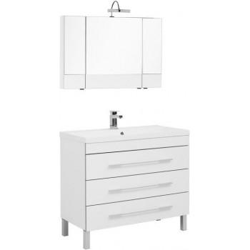 Комплект мебели для ванной Aquanet Верона NEW 100 белый (напольный 3 ящика)