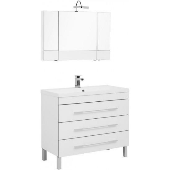 Комплект мебели для ванной Aquanet Верона NEW 100 белый (напольный 3 ящика) в интернет-магазине ROSESTAR фото