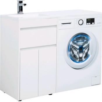 Тумба с раковиной Aquanet Токио 110 L белый (напольная, 1 ящик, 2 дверцы)