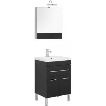 Комплект мебели для ванной Aquanet Верона NEW 58 черный (напольный 1 ящик 2 дверцы)