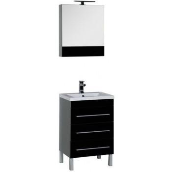 Комплект мебели для ванной Aquanet Верона NEW 58 черный (напольный 3 ящика)