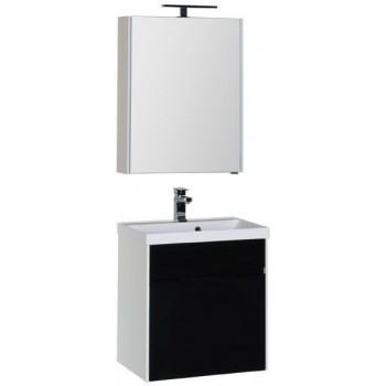 Комплект мебели для ванной Aquanet Латина 60 черный (1 ящик)