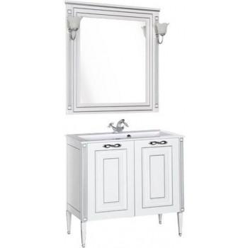 Комплект мебели для ванной Aquanet Паола 90 белый/серебро (литьевой мрамор)