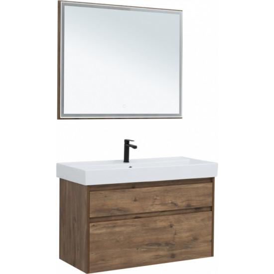 Комплект мебели для ванной Aquanet Nova Lite 100 дуб рустикальный (2 ящика) в интернет-магазине ROSESTAR фото