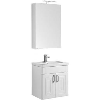 Комплект мебели для ванной Aquanet Рондо 60 белый (2 дверцы, зеркало камерино)