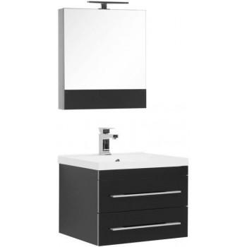 Комплект мебели для ванной Aquanet Верона NEW 58 черный (подвесной 2 ящика)