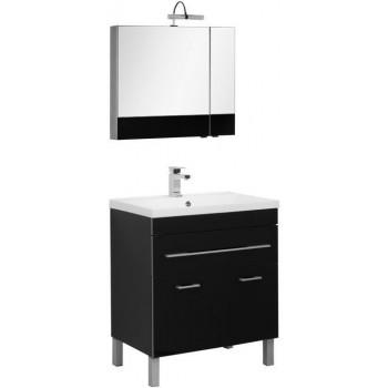 Комплект мебели для ванной Aquanet Верона NEW 75 черный (напольный 1 ящик 2 дверцы)
