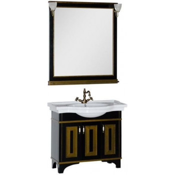 Комплект мебели для ванной Aquanet Валенса 100 черный краколет/золото