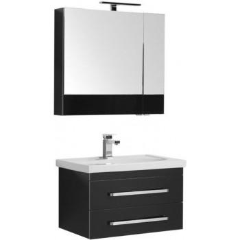 Комплект мебели для ванной Aquanet Сиена 70 черный (подвесной 2 ящика)