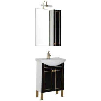Комплект мебели для ванной Aquanet Честер 60 черный/золото