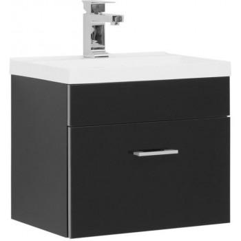 Тумба с раковиной Aquanet Верона NEW 50 черный (подвесная 1 ящик)