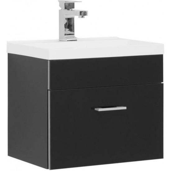 Тумба с раковиной Aquanet Верона NEW 50 черный (подвесная 1 ящик) в интернет-магазине ROSESTAR фото